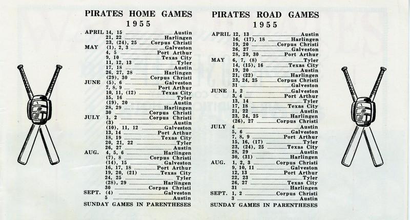 1955 Pirates Game Schedule