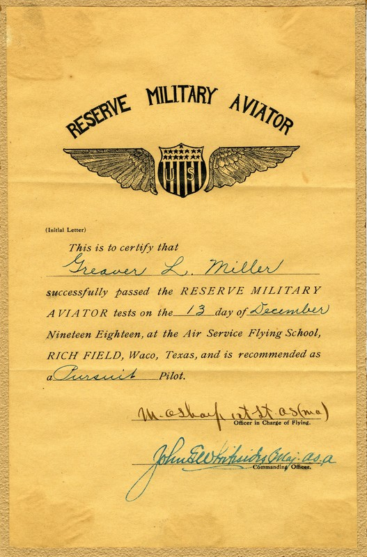 Reserve Certificate