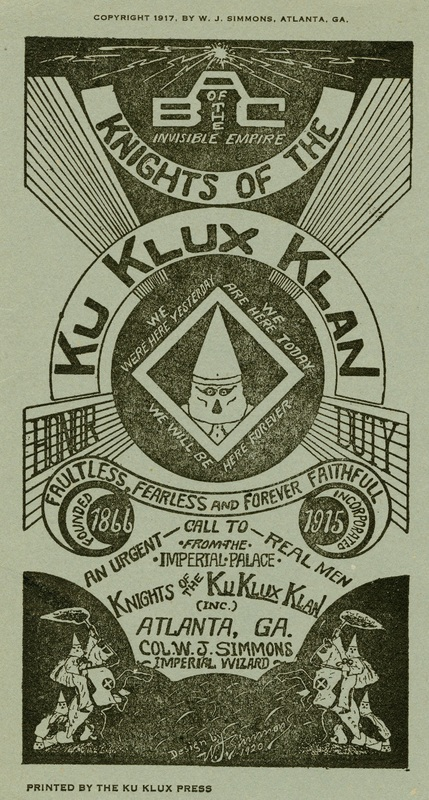 KKK Information Pamphlet 1917