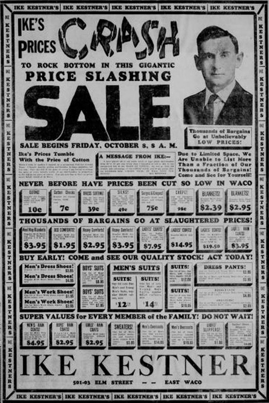 (Advertisement, October 8, 1926)