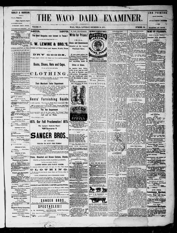 Sanger Bros. Advertisement (December 18,1875)